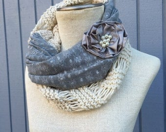 Knit scarf, Knitting accessories, Women accessories, Hand knit scarf, Winter scarf, Infinity scarf, Women scarf, Chunky scarf, Fashion scarf