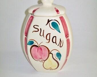 Vintage Purinton Slip Ware Sugar Jar Apple Pear Fruit Design Sugar Canister 1940's