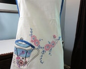 Vintage  Apron Made From Preprinted Fabric Pinks Blues