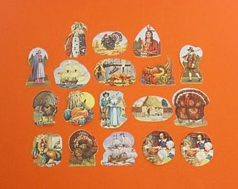 Vintage THANKSGIVING Gummed STICKERS SEALS - Pilgrims Turkeys Mayflower - 18 Total