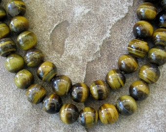 "Tiger Eye 8 MM Large Hole Bead Round Big 2.5 mm Hole 7.5"" Fit over Leather"