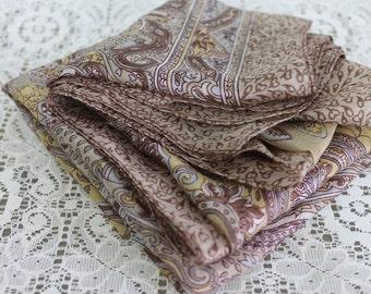 Vintage Silk Scarf Large Taupe Paisley