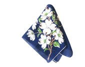 Vintage Burmel Dogwood Hankie Navy Blue Cotton Handkerchief White Blossoms 50s Womens Fashion Accessory