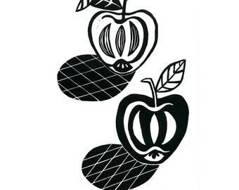 Apples Still Life Linocut Print