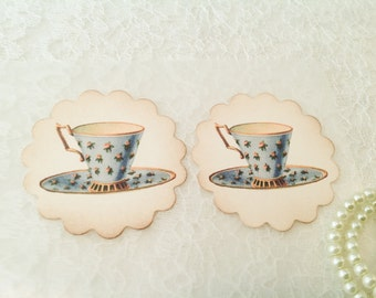 Teacup and Tea Party Favors and Stickers-Victorian gifts and favors-Set of 12