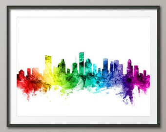 Houston Skyline, Houston Texas Cityscape Art Print (2461)