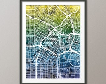 Los Angeles Map, Downtown Los Angeles California City Street Map, Art Print (2339)