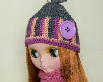 three colors crocheted wool hat for Blythe