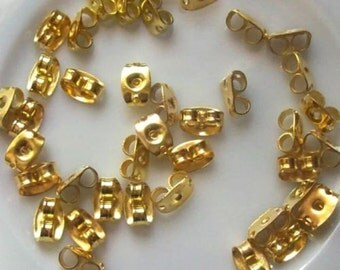 100 Earring Backs, Gold Tone 5 x 3 mm U.S Seller - ew079