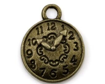 10 Clock Charms, Pocket Watch Charm, Antique Bronze 15 x 12 mm U.S Seller - bz338