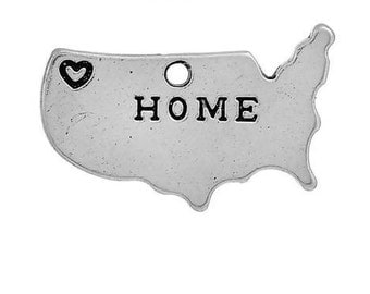 United States Charms, (8) Map Charms, Antique Silver, 24 x 15 mm, U.S Seller - ts1067