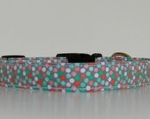 Mint Green Gray Pink Polka Dot Dog Collar Wedding Accessories Made to Order