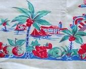 40s-50s Tropicana Print Cotton Tablecloth, Aqua and Pink Palms Flamingos Sailboats Retro Cabana Garden Party