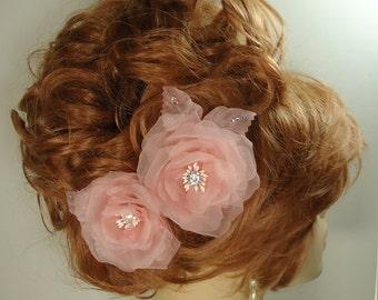 Wedding Hair Flowers, Blush Organza Roses, Rose Hair Pins, Set of 2, REX16-404