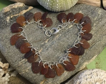 Sea glass jewelry- 26 pieces of brown sea glass on a sterling silver bracelet