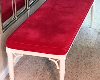 5' Faux Bamboo/Chinese Chippendale/Velvet Bench - Local Pick up or your shipper