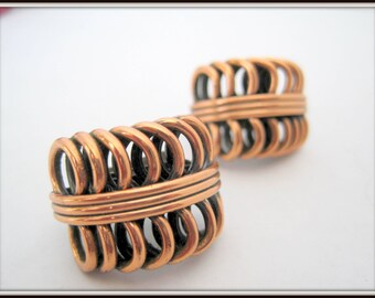 Renoir Copper Earrings - Coiled Modernist Mid Century- Clip On Signed