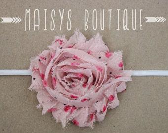 75% Off- Pink Flower Print Shabby Flower Headband/ Newborn Headband/ Baby Headband/ Photo Prop