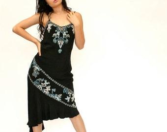 25%OFF SALE 90's/20's Retro Black Beaded Dress, Silk Beaded Dress, Midi Dress, Asymmetrical Hem Dress, Women's 10