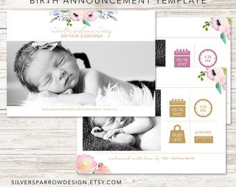Birth Announcement Template, Watercolor flower template, Photographer template, INSTANT DOWNLOAD, Baby girl template