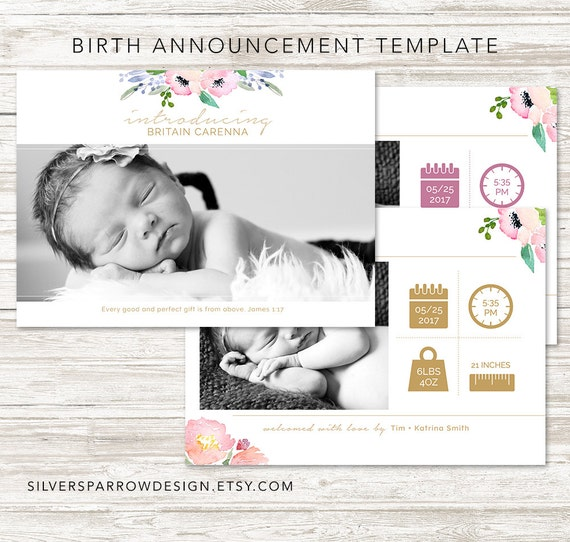 birth announcement template watercolor flower template. Black Bedroom Furniture Sets. Home Design Ideas