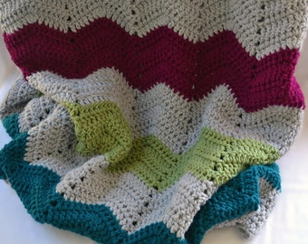 Large chevron blanket, double thick crochet blanket, crochet afghan, twin size crochet blanket, crochet lap blanket, bedding, travel blanket