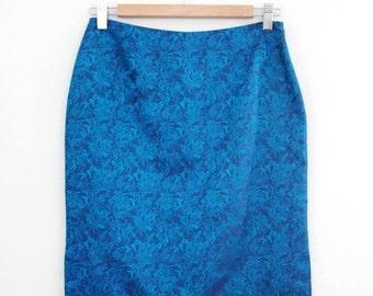 Vintage Vivienne Tam Satin Brocade Pencil Skirt - Oriental Style Wiggle Skirt - Size Medium