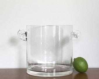 Vintage Tiffany Co Crystal Ice Bucket Scroll Handle Wine Chiller Barware