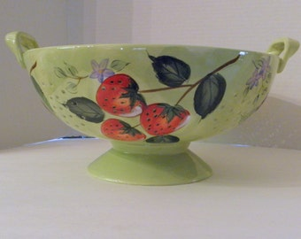Fruit N Berries Hand Painted Ceramic  Colander Berry Footed Bowl