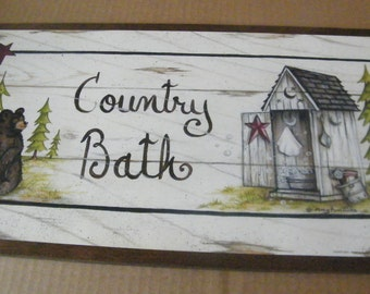 10x19 Wood Vintage Outhouse  COUNTRY BATH Retro Primitive Bath Bathroom Sign