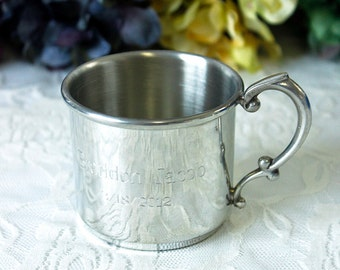 Engraved Pewter Baby Cup 20910