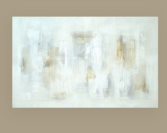 Art, Large Painting, Original Abstract, Acrylic Paintings on Canvas by Ora Birenbaum Titled: Linen and Lace 3 30x48x1.5""