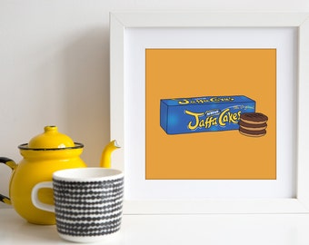 Jaffa Cakes - Square Hand Drawn Illustration Print - kitchen art - home decor - food - cakes - biscuits  - art for foodie - art for kitchen