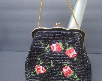 Exquisite Black Glass Beaded Rose Embroidered Evening Bag