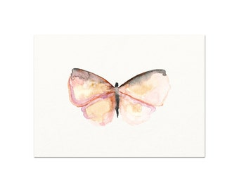 Watercolor Pink Butterfly Art Print. Baby Nursery Decor.  Nursery Art.  Baby Girl Wall Art.  Nature Art.