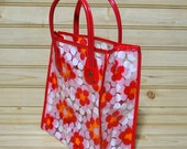 Vintage Mini Plastic Bag Heavy Duty Flower Decor Design Made in Taiwan New with Tags Tote 1970s - 1980s