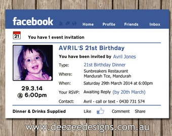 Facebook Themed Personalised Birthday Invitation with Photo - YOU PRINT