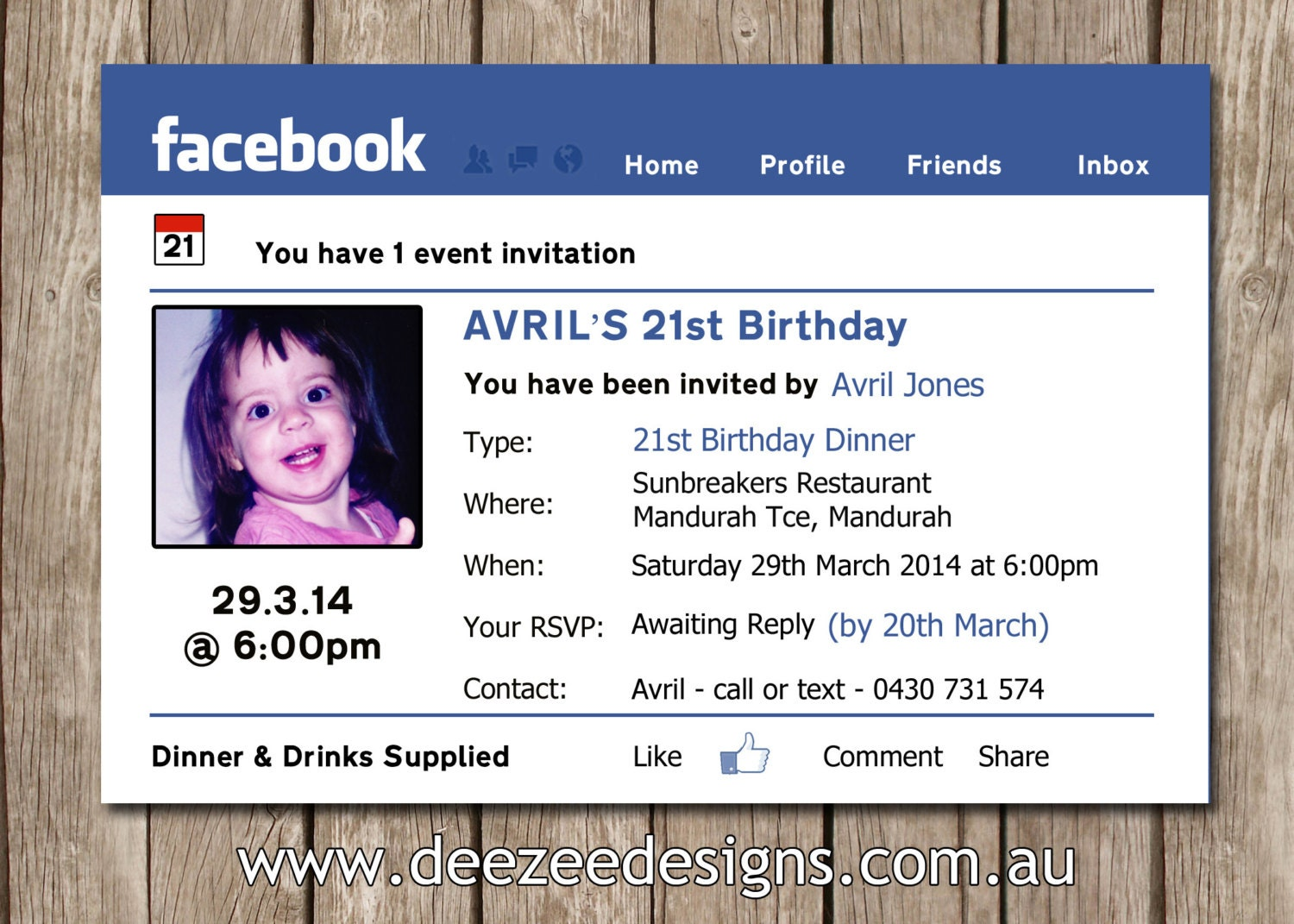 Facebook Themed Personalised Birthday Invitation with Photo – Personalised Birthday Invites