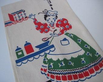 Vintage 1950s Broderie Kitchen Linens Tea Towel