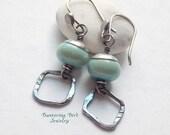 Mint Sea Green Lampwork Earrings, Fine Silver Drop Earrings, Small Glass Bead Earrings, Sterling Silver Dangle Earrings, Artisan Jewelry