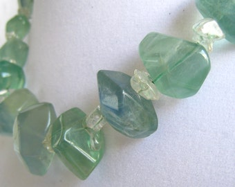 """Chunky Aqua Quartz Crystal Graduated Nugget Necklace with Pairs of Clear Polished Chips used as Spacers.   17-3/4"""" L. Vintage Artisan Made."""