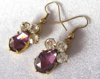 Amethyst Rhinestone Teardrop Vintage Earrings with 3 Clear Chatons above Drop.  Gold Tone Settings & Ear Wires