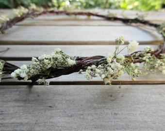 Dried Baby's Breath Floral Crown, Flower Circlet, Twig Head Wreath - Simple Baby's Breath & Birch