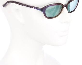 10,000 LIKES 7 Day Sale 90s CHANEL Holographic Metallic Purple ZOOLANDER Duo-Tone Rectangular Vintage Sunglasses w/ Tinted Blue Lenses