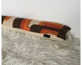 Draught Excluder Handmade From Vintage Orange Graphic Fabric, Kitsch Retro