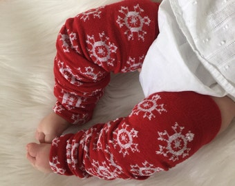 Red and White Snowflake Baby Legs / Christmas Leg Warmers