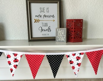 Lady Bug Banner. Lady Bug Fabric Banner. Red, Black & White Banner. Lady Bug Birthday Banner. Lady Bug Bunting. Lady Bug Party Banner.