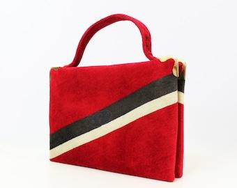 vintage 60s mod designer purse / 1960s CESARE PICCINI rare purse / red velour handbag / Italian purse / luxe velvet bag