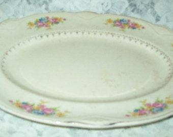 """HOMER Laughlin 1942 Platter D 42 N 8 Pink Blue Yellow Flowers 11 3/4"""" X 9 1/4"""""""