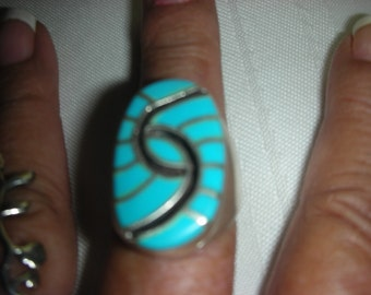 Vintage Zuni Amy Quadelacy 925 Sterling Silver Turquoise Onyx Ring